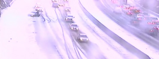 Heavy snow makes for a slick morning commute