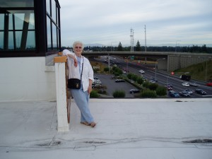 Gaeng on the roof of the Lynnwood Convention Center.