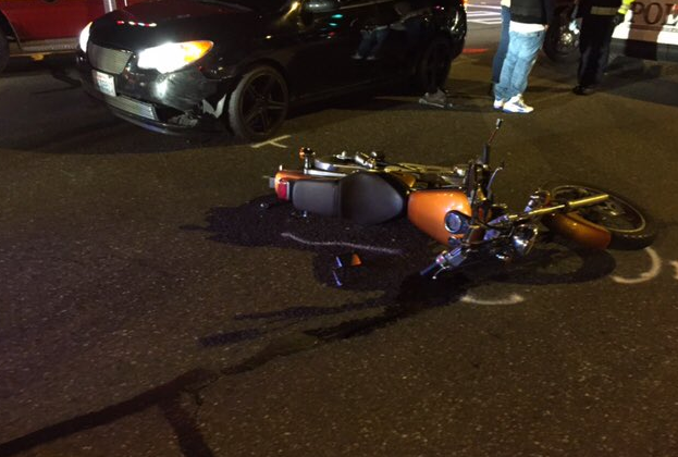 Car and motorcycle crash on 196th Street Southwest - Lynnwood Today