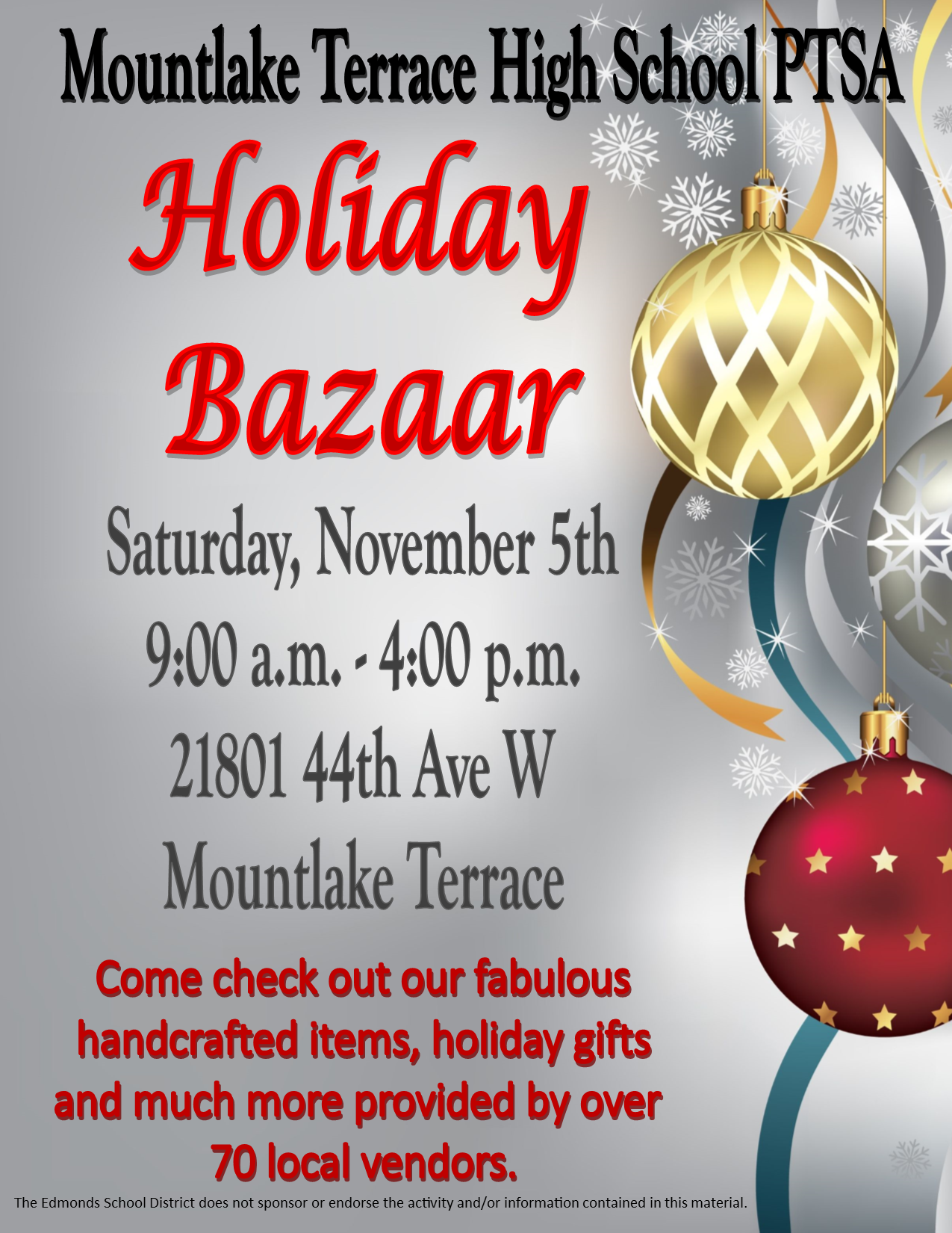 join us for your holiday shopping our 16th annual holiday bazaar is the first saturday of november we will have over 70 vendors selling handmade gifts