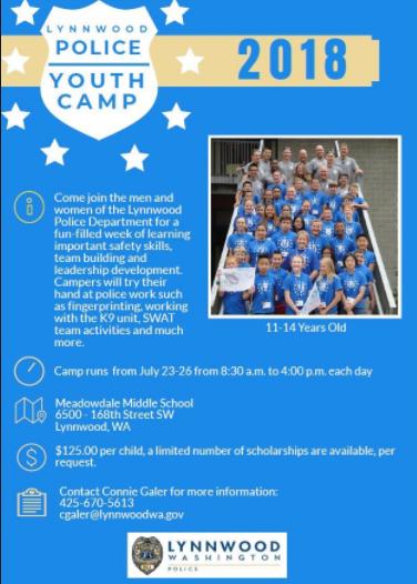 Reminder: Register now for Lynnwood Police Youth Summer Camp