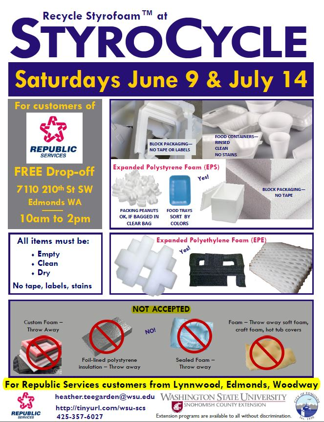 Reminder Recycle Your Styrofoam At These Events In Edmonds Starting Saturday Lynnwood Today
