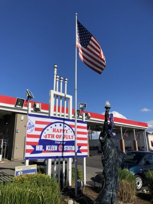 Scene in lynnwood patriotic display at local gas station - Garden state parkway gas stations ...