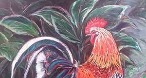 Rooster with Hosta by Monica Bretherton