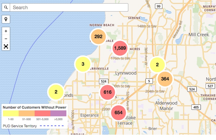As winds gust, thousands without power in southwest Snohomish County