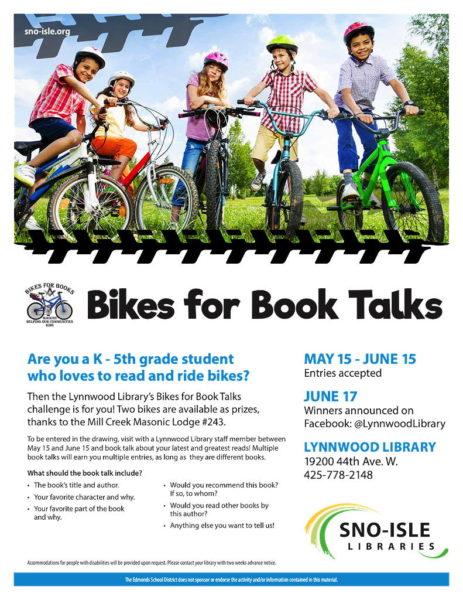Deadline Saturday: Talk about a book, win a bike at Lynnwood