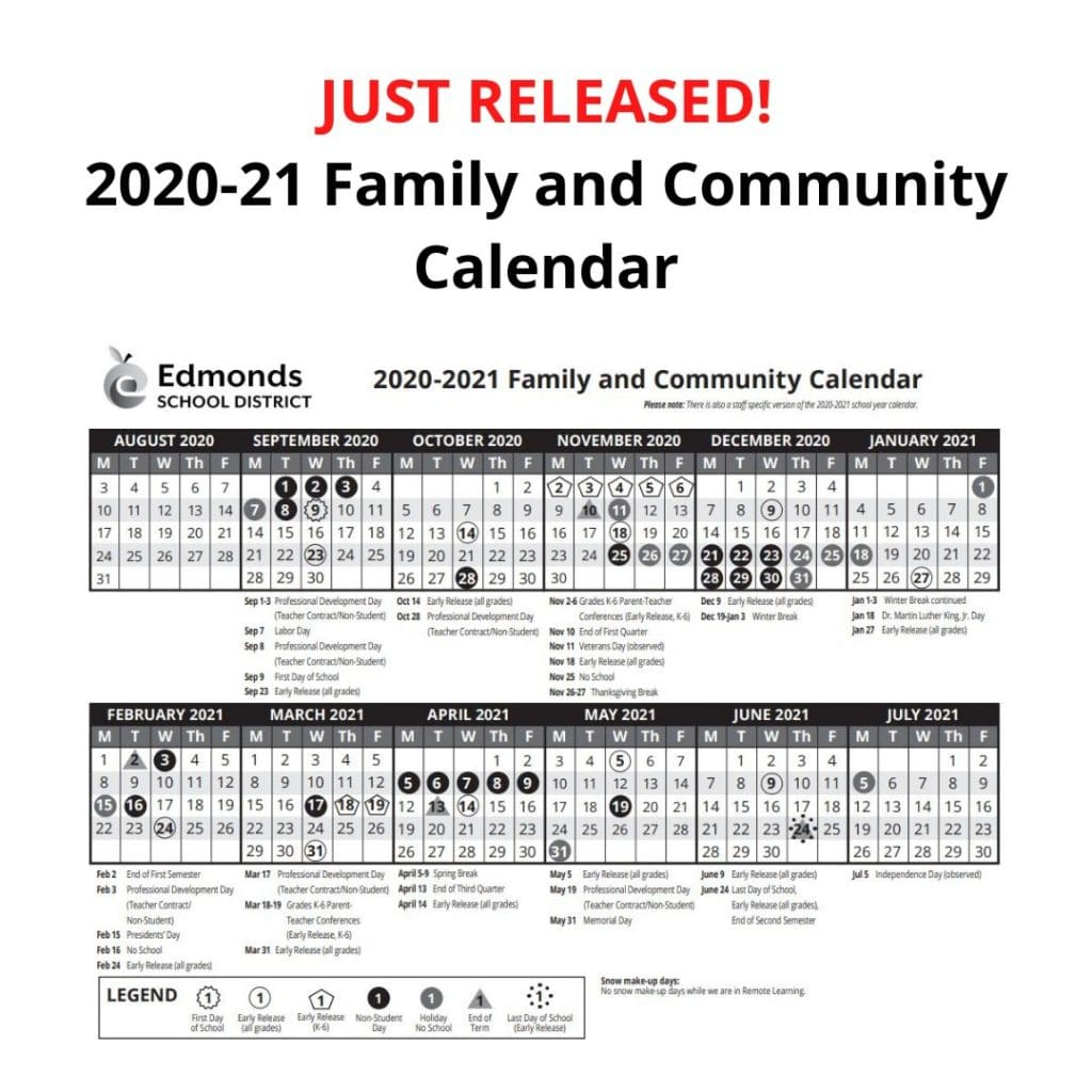 Edmonds School District 2020 21 school calendar, handbook