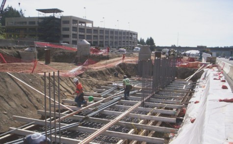 Footing for the Mountlake Terrace Freeway Station being poured. October 2009