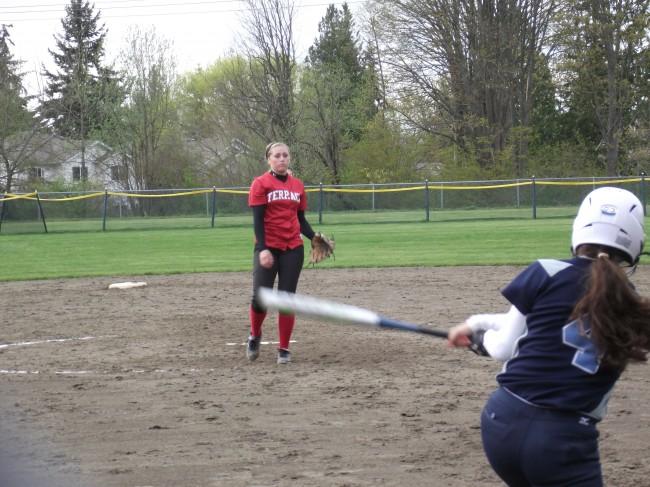 Terrace sophomore pitcher Maddy Kristjanson faces a Meadowdale batter