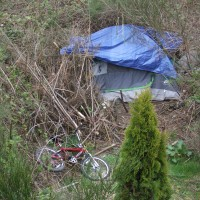 A closeup of the tent where the dead man was found.