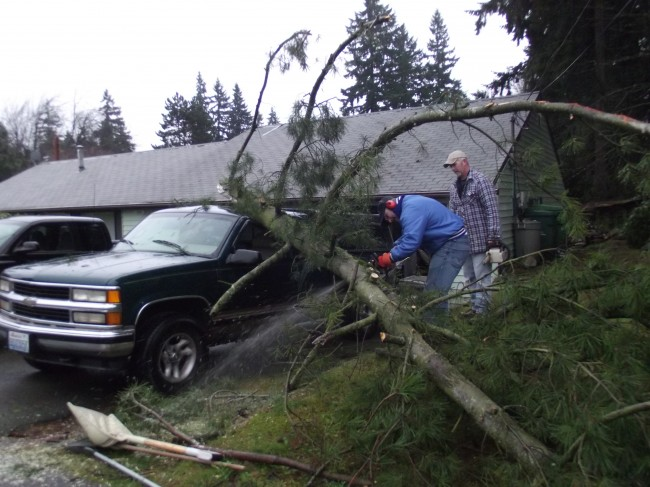 Erik Carlson, in the blue jacket, operating the chain saw, with Chuck Long behind him.