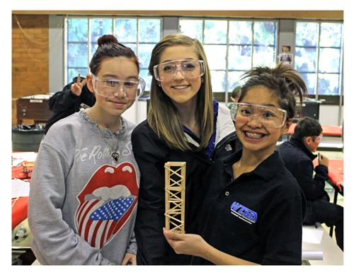 Brier-Terrace students, from left, Josie Morris, Maddy Caiola and Angel Garcia at the middle school regionals. (Photo courtesy of Edmonds School District)