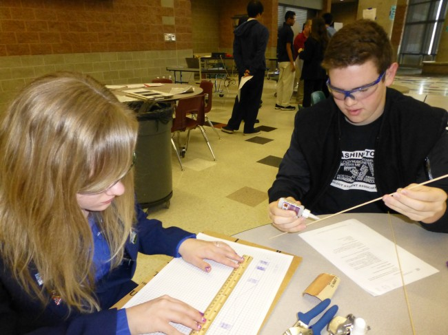 Haeley Johnston and Joey Owens at the high school regionals. (Photo courtesy BTMS TSA Club)