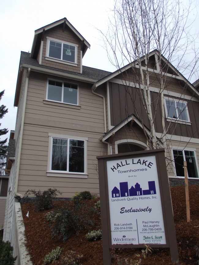 These eight Hall Lake Townhomes, 5911-212th Pl. SW. are scheduled to be finished this spring.