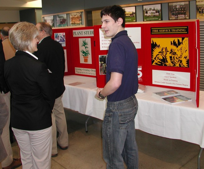 A student talks about the intradistrict firefighting program.