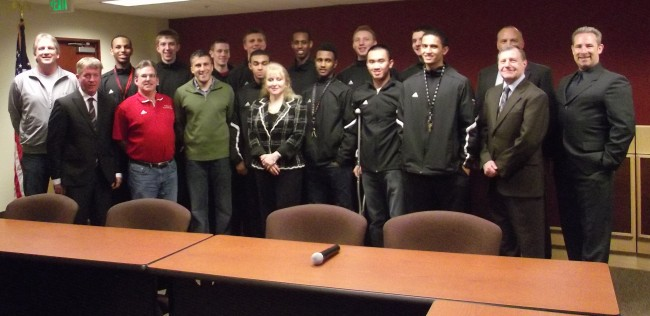 The MTHS boys basketball team was honored with a city proclamation at Monday's city council meeting. The team was recognized for their 23-4 season and fourth-place finish at state. In the photo are the team'd players and coaches, and members of the MLT City Council. (Photo by Doug Petrowsi)