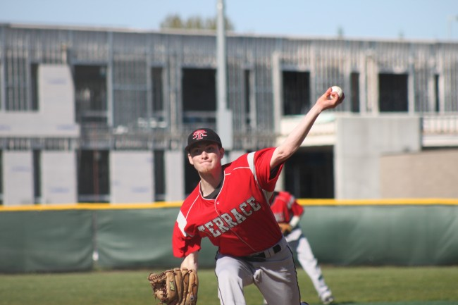 Dominic DeMiero on the mound for the Hawks Tuesday. (Photos by Jenny Serres)