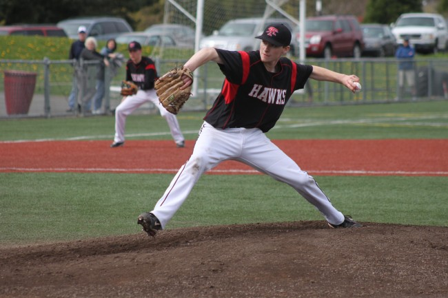 Dominic DeMiero pitched a complete game and got the win for the Hawks Wednesday. (Photos by Jenny Seres)