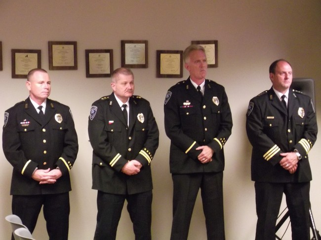 Commander Don Duncan, Assistant Police Chief Pete Caw, Commander Doug Hanson and Police Chief Greg Wilson.