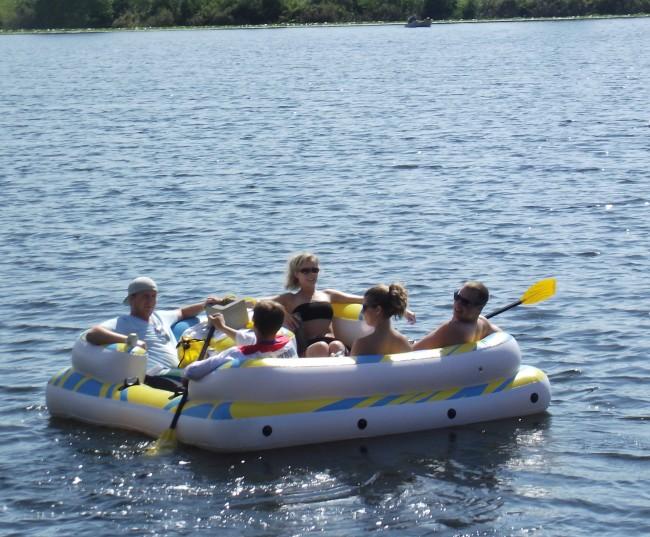 Relaxing on Lake Ballinger.