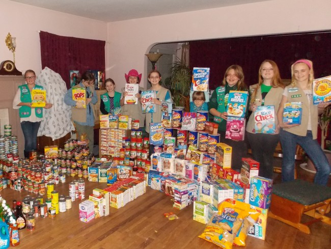 The troop after last year's successful food drive,