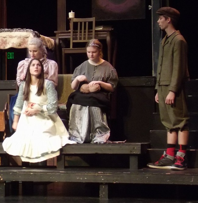 "Rehearsing a scene from ""The Miracle Worker"" are Emily Davidson (left front), Amanda Petrowski (left back), Jessie Crozier (middle) and Everett Amundson (right)."
