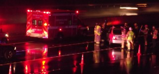 Scene in MLT: Slick roads cause I-5 accident