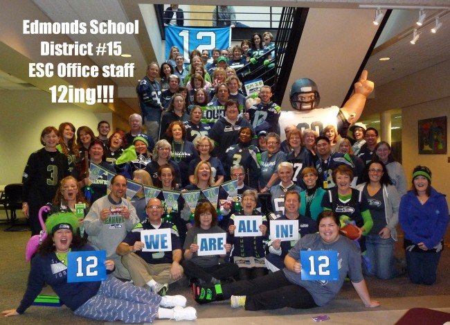 """In honor of the Seattle Seahawks' football playoff game vs. New Orleans Saturday, employees at the Edmonds School District Education Service Center took a morning break Friday to snap this 12th man picture. What else can we say but """"Go Hawks!"""" (If you have a 12th man photo you'd like to share, email it to teresa@myedmondsnews.com"""