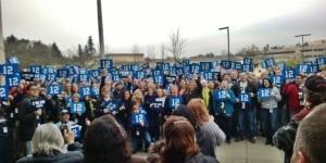 Premera employees go blue Friday