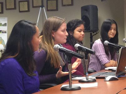 From left, UW students Vera Hoang, Cayla Stahley, Tabith Manalu and Jun Wang present their report at the Mountlake Terrace City Council meeting.