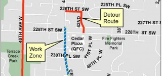 Expect detours on 228th Street SW, Cedar Way/44th Avenue West next week