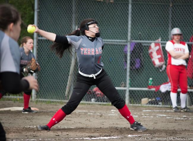 Kira Doan on the mound Tuesday. (Photos by TK Johnson)