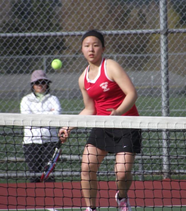 No. 2 singles player Tina Liu from a match earlier this season. (Photo by Doug Petrowski)