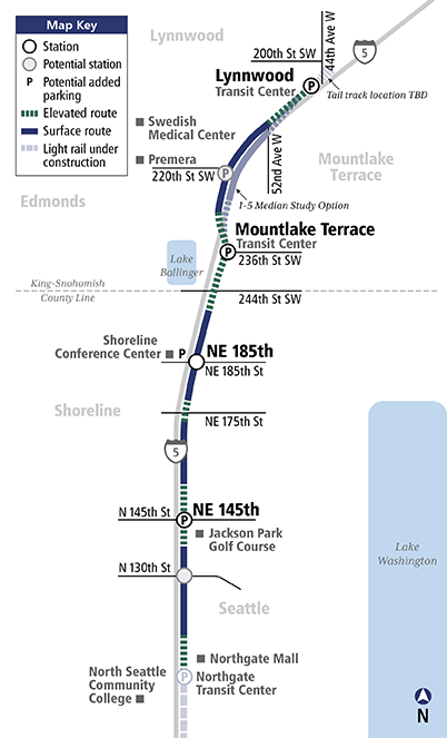 Lynnwood Link Extension map