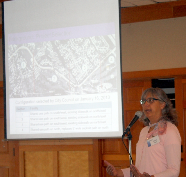Mountlake Terrace Traffic Engineer Janet Hall talks about the upcoming Lakeview Trail Project Thursday night during an Open House at the Mickey Corso Clubhouse at Ballinger Park. (Photo by David Pan)