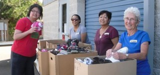 Help sort  and box shoes for Holly House on Monday, Sept. 8