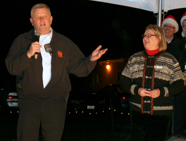 Lynnwood Fire Chief Scott Cockrum said gave some fire safety tips Saturday at the Silver Creek Christmas Tree Lighting Festival.