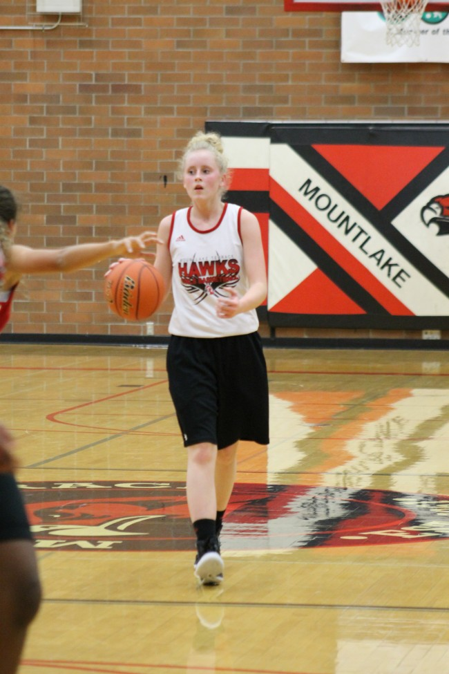 Mountlake Terrace's Skyler Zenk brings the ball up the court.