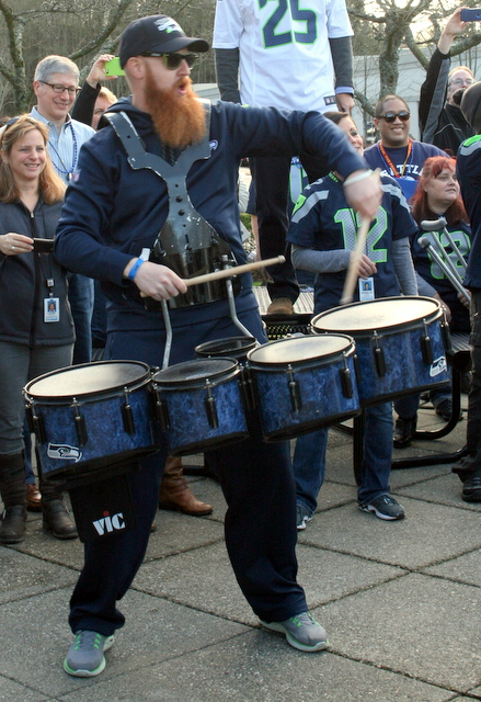 Members of Blue Thunder, the Seahawks' drumline performed at Friday's rally.