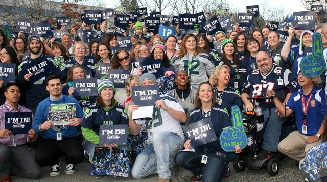 Premera Blue Cross employees turned out for a Seahawks rally.