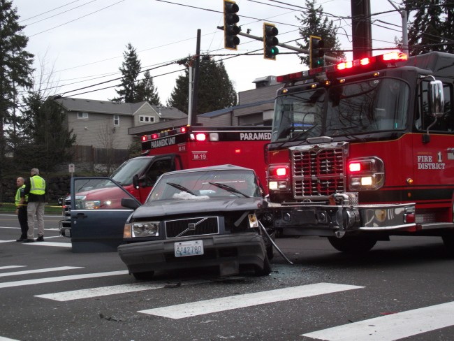 A Snohomish County Fire District 1 truck collided with a car Wednesday afternoon at the intersection of 220th St. SW. and 44th Ave. W. (Photos by Doug Petrowski)