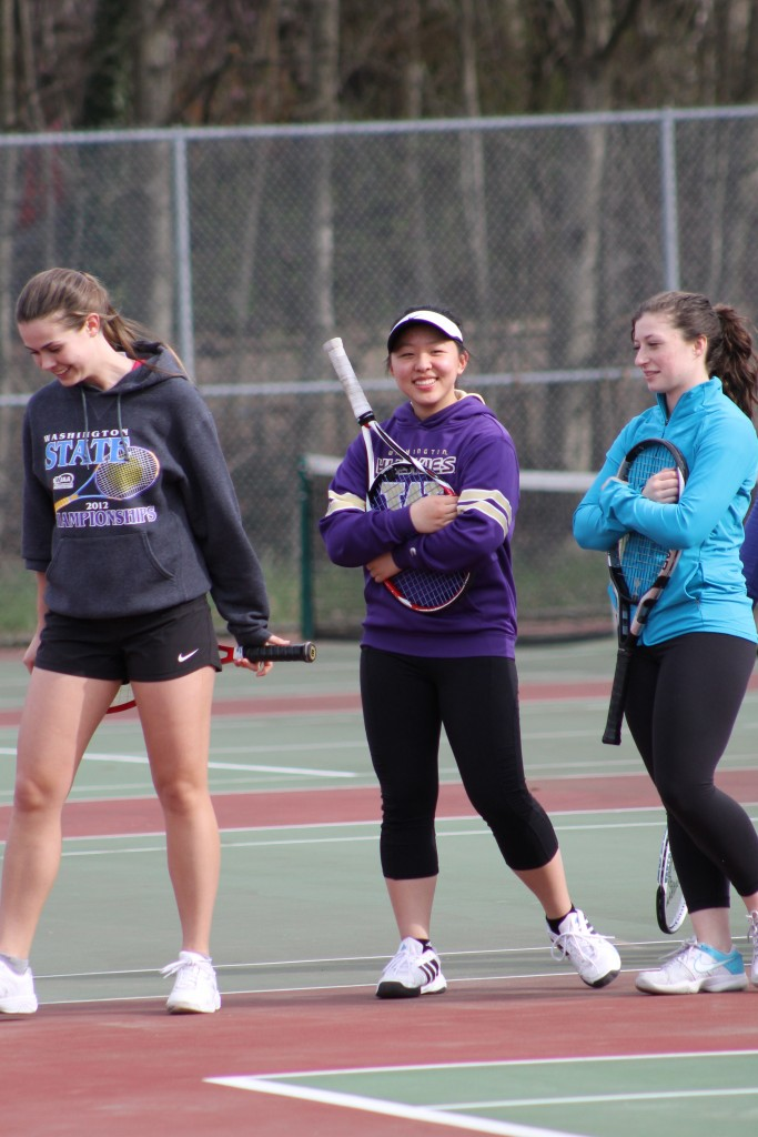 Senior Nicki Bouche, junior Tina Liu and senior Lorraine Allison (from left to right) will once again anchor the MTHS girls tennis team in 2015.