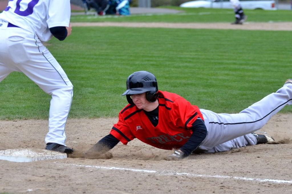 Mountlake Terrace's Adam Lorraine slides into third base. (Photos by Karl Swenson)