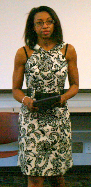 Attorney Lydian Dews took time away from her legal work to read one of her poems.