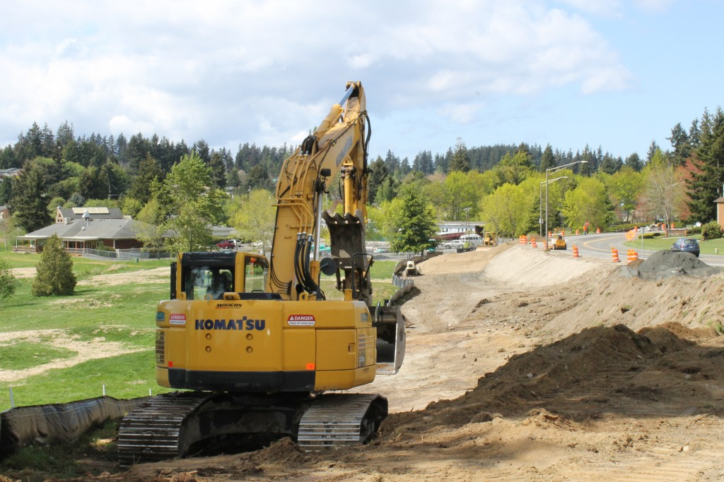 Crews have begun work on the $3.4 million Lakeview Trail along Lakeview Drive in Mountlake Terrace. The Mountlake Terrace Community Senior Center can be seen in the upper left-hand corner.