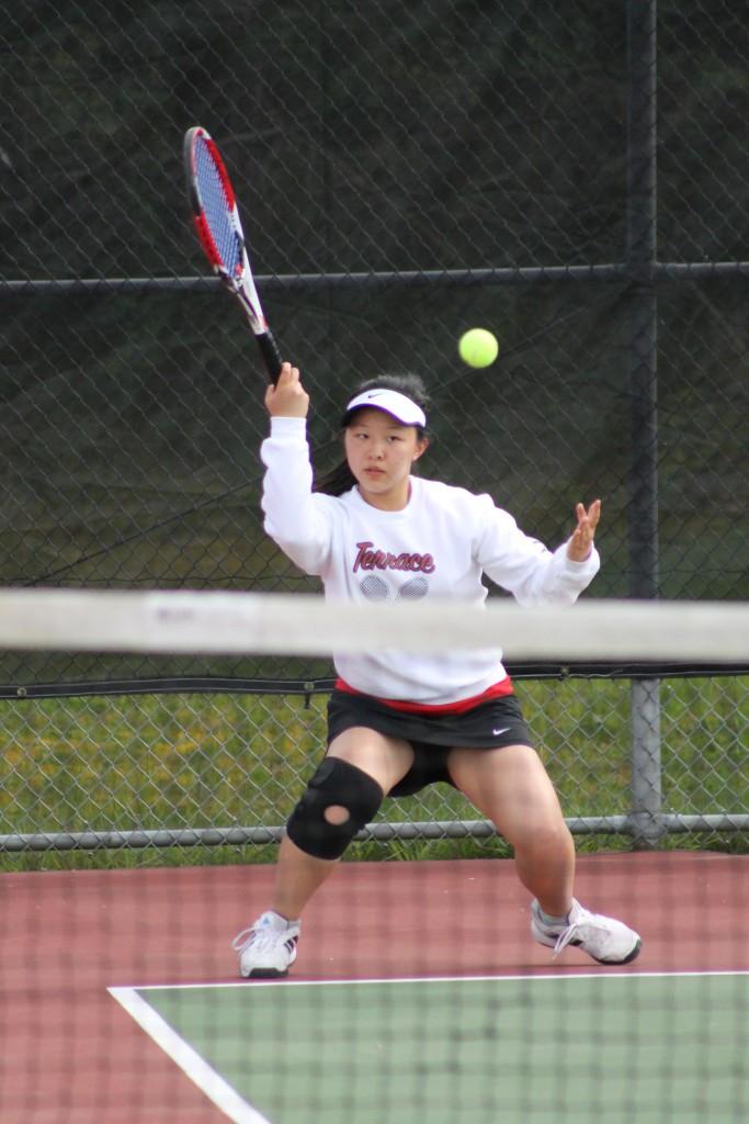 Mountlake Terrace's Tina Liu was victorious in her No. 2 singles match against Lynnwood's Auryana Schoori. (Photos by Doug Petrowski)