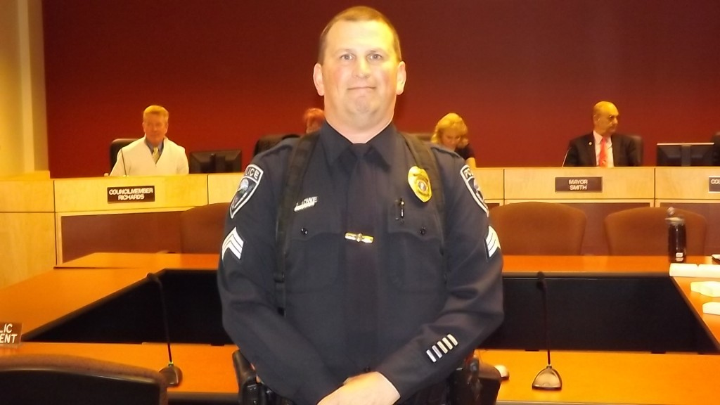 Mountlake Terrace Sergeant Pat Low received the Lifesaving Award for his actions on Jan. 21, 2014 that saved the life of a suicidal female who was attempting to jump onto Interstate 5 from the 220th Street overpass.