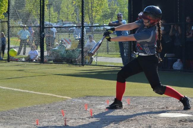 Mountlake Terrace's Gabby Calhoun swings at a pitch.