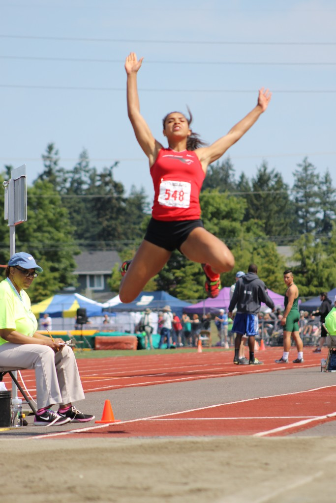 Mountlake Terrace's Chinne Okoronkwo won the district title in the long Jump and qualified for state. (File photo by Doug Petrowski)
