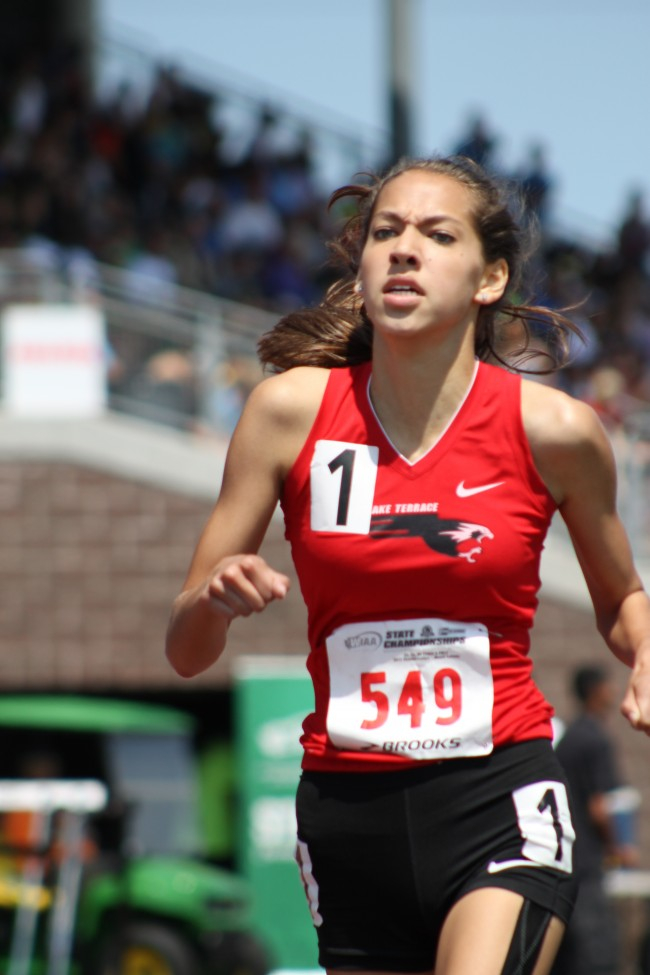 Mountlake  Terrace's Jessica Ong in a preliminary heat of the 3A Girls 800 Meter Run.